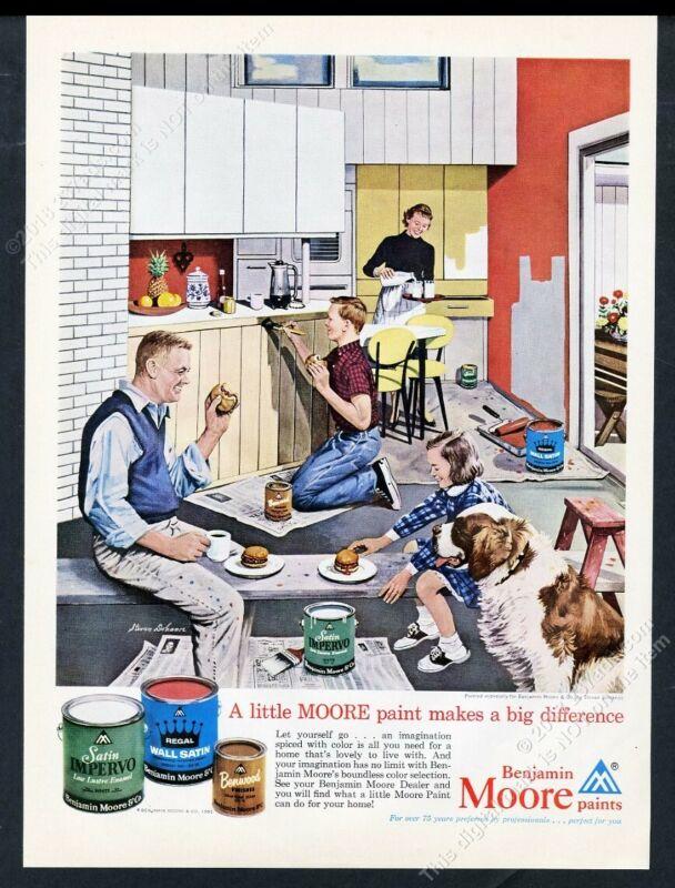 1961 St Saint Bernard & family art Benjamin Moore paint vintage print ad