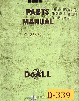 Doall C-1216m Power Saw Parts And Assemblies Manual