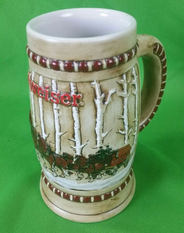 1981 Budweiser Holiday Clydesdale beer stein mug Snow Covered Birch Trees CS-50