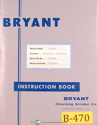 Bryant 3216-g N Series Internal Grinder Oeprations Maintenance Prints Manual