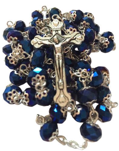 Catholic Deep Dark Blue Jerusalem Crystal Rosary
