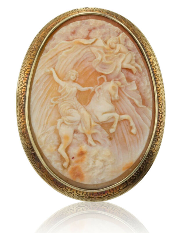 """14K Antique Large Cameo Brooch """"Heavens Opening"""""""