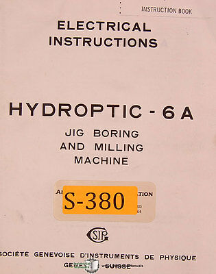 Sip 6a Jig Boring Milling Electrical Instructions Manual