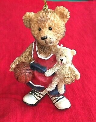 Teddy Bear Basketball Christmas Tree Ornament Holiday Gift Decor