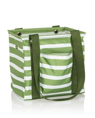 *NEW* Thirty One SMALL UTILITY Tote Bag In Green Cabana Stripe -  NIP
