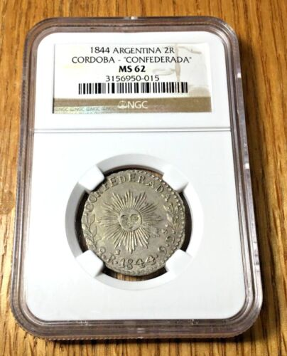 1844 Argentina 2 reales Cordoba NGC MS62 SECOND HIGHEST GRADED silver republic