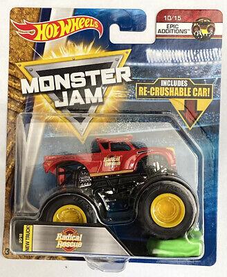 New Radical Rescue 2018  Hot Wheels Monster Jam Truck  w/ Re-crushable  Car