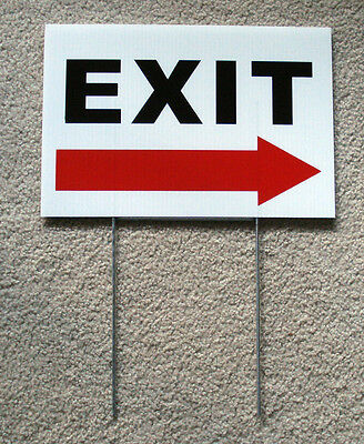 Exit With Arrow Pointing Right 8 X12 Plastic Coroplast Sign With Stake