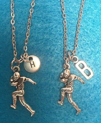 Personalized Football Necklaces (Personalized Football Necklace Sports Gift Mom Charm Choose Initial)