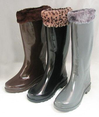 Women's Rain Boots Snow Winter Faux Fur Top Wellies Mid Calf