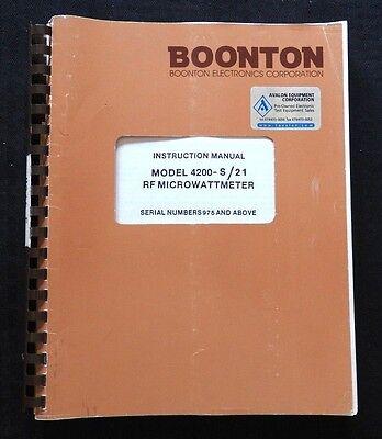 Boonton 4200-s21 Rf Micro Watt Meter Operating Instruction Manual Sn 975 Up