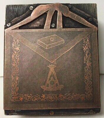 Vtg Copper Wood Letterpress Printing Block Apron Freemason Ceremonial Regalia