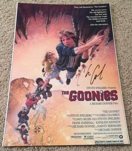 CHRIS COLUMBUS SIGNED AUTOGRAPH THE GOONIES 12x18 PHOTO POSTER w/EXACT PROOF