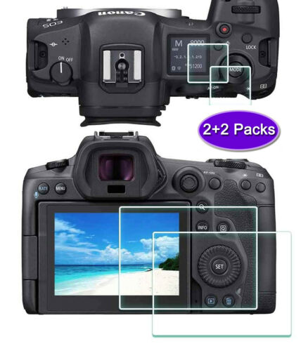 Screen Protector for Canon EOS R5 Camera, Optical 9H Tempered Glass-(2+2Packs)