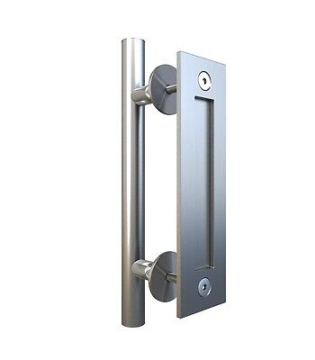 Stainless Steel Flush Pull Handle Set for Sliding Barn Door (Flush Steel Door)