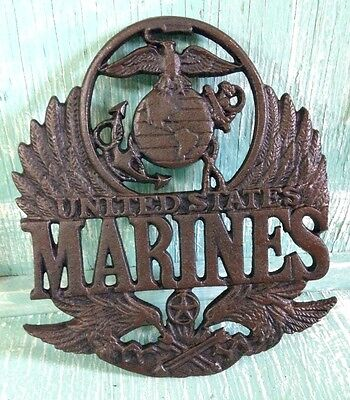 United States Marine Plaque Trivet Wall Decor Cast Iron Veteran 8 3/8 Inches New