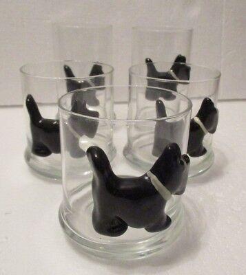 5 black Scottie Dogs 3D Clear Glass Drinking Glasses