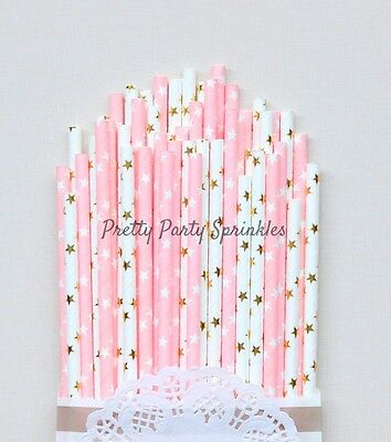 50 Pink And Gold Star Straws Twinkle Twinkle Little Star Girl Baby Shower Party