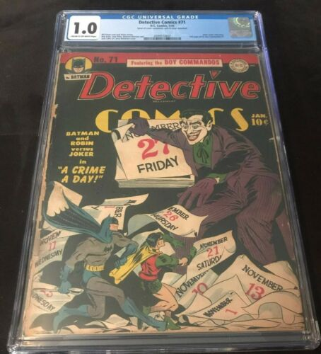 DC BATMAN DETECTIVE COMICS #71 CGC UNIVERSAL 1.0 CLASSIC JOKER COVER