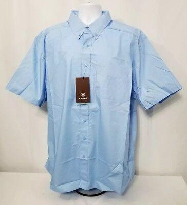 - Ariat Classic Fit Solid Poplin Short Sleeve button front western Shirt Men's 2XL
