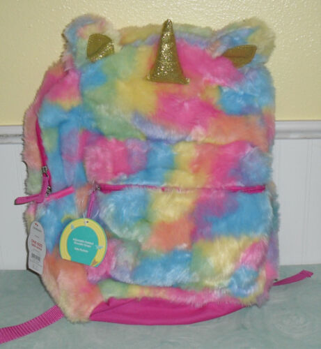 Wonder Nation Girls Faux Fur Unicorn Backpack Rainbow Colors New NWT