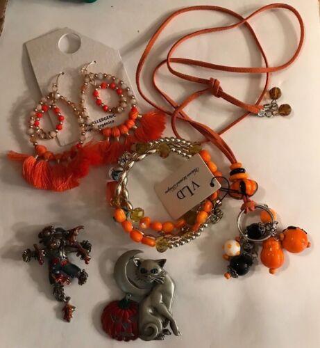 4 Signed JJ, AJMC Halloween Pins Orange Glass Bracelet Pumpkin Necklace Earrings