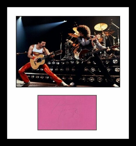 AUTHENTIC Freddie Mercury signed Note with Glossy Photo!  Queen