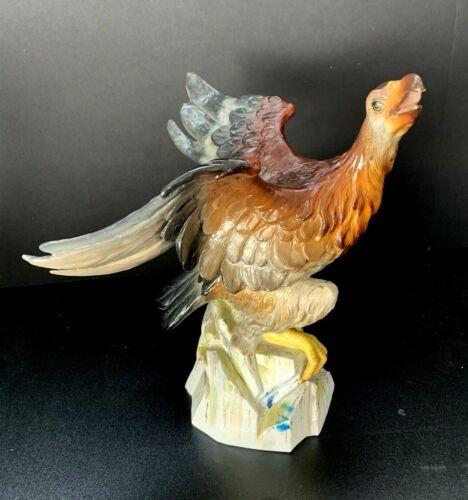 "Beautiful Antique Painted Porcelain Phoenix 10"" Tall!"