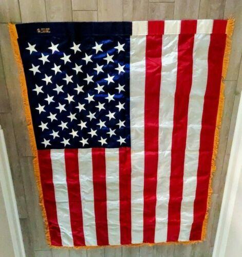 Vintage 1960-70 Annin Co American Flag 3x5 Embroidered 50 Star Nylon Gold Fringe