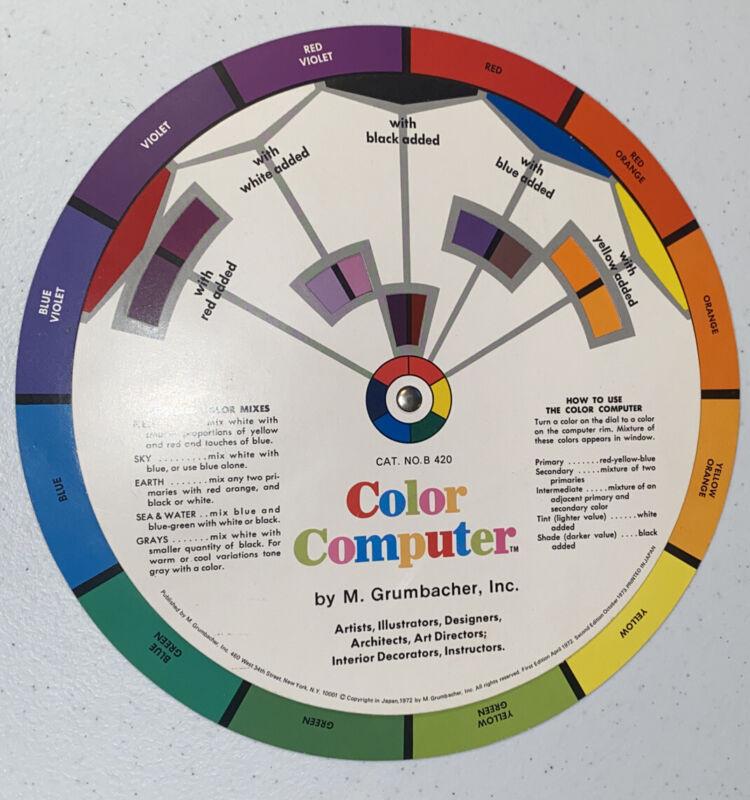 Vintage Grumbacher Color Computer/Harmony Wheel, 1977 edition, Mint condition