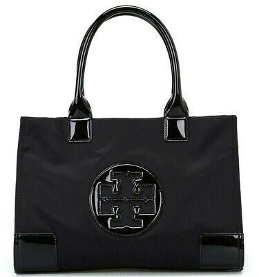 New TORY BURCH Ella Mini Tote 50009813 Nylon Leather Handbag Black Free Shipping