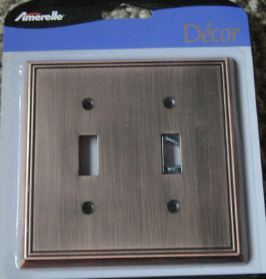 - Double Toggle Wall Switch Plate Cover Antique Copper Cast Metal Metro Line NEW