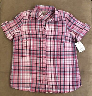 NWT White Stag Womens Pink Plaid Button Short Sleeve Blouse Top 100% Cotton Sz S