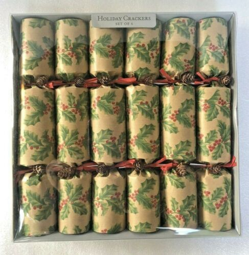 6 World Market Holiday Christmas Crackers Poppers Holly Design w Real Pinecones