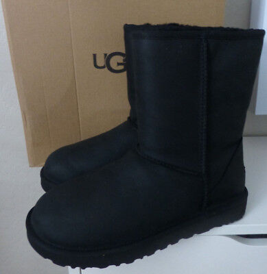 UGG Classic Short Leather Black 1016559 Water Resistant Boots Size 6 Brand New (Short Classic Ugg Boots)
