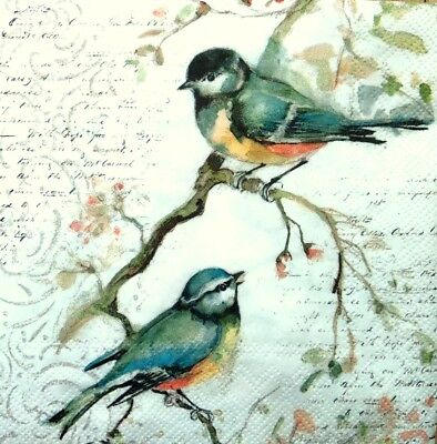 4 Single Lunch Paper Napkins for Decoupage Party Craft Vintage Little Birds Song