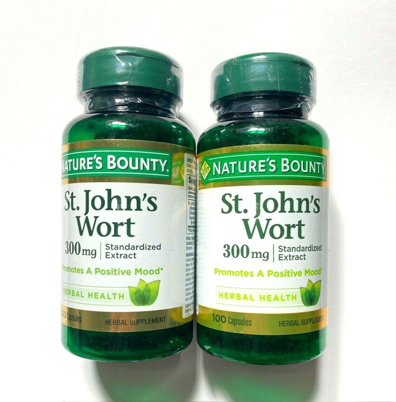Lot of 2 Nature's Bounty St. John's Wort 300mg Herbal Supplement 100 Capsules ea