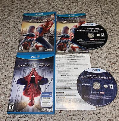Amazing Spider-Man 1 & 2 Nintendo Wii U Lot Bundle Complete