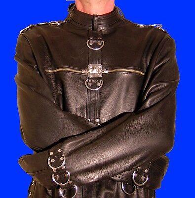 Lederjacke Zwangsjacke Bondage Jacke schwarz S M L XL leather jacket black BDSM
