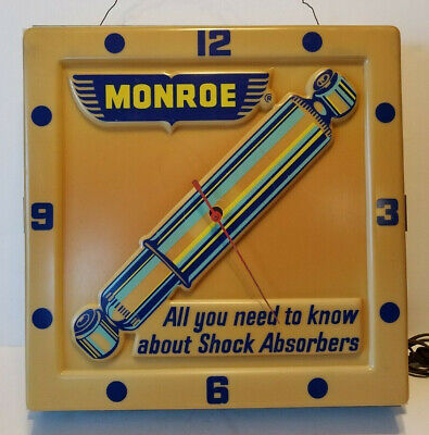 Vintage MONROE SHOCK ABSORBERS Advertising Wall CLOCK for Parts or RESTORATION