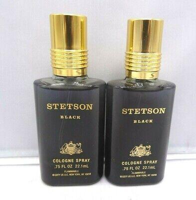 STETSON BLACK FOR MEN COLOGNE SPRAY .75 OZ EACH LOT OF 2 Mint Cologne Spray