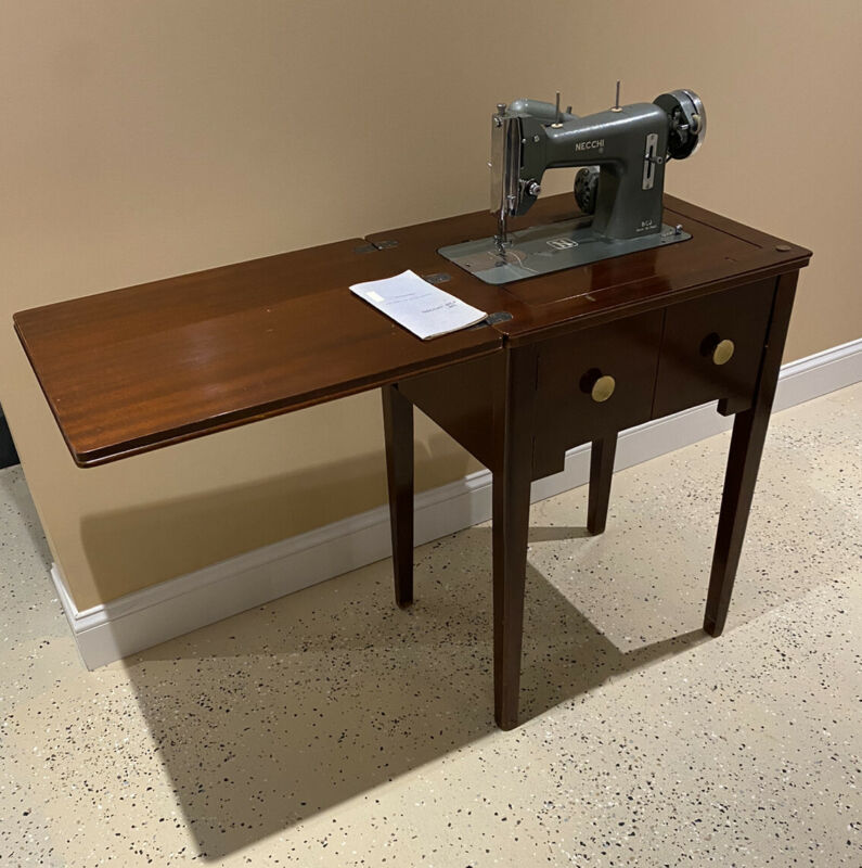 Vintage Necchi BJC Sewing Machine with Stand Very Nice Made In Italy Works Great