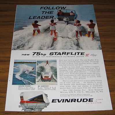 1960 Vintage Ad Evinrude 75 HP Starflite II Outboard Motors Water Skiers