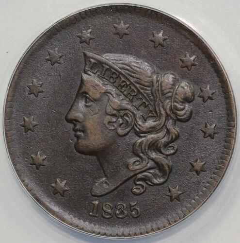 1835 1c N-15 Coronet or Matron Head Large Cent ANACS VF 35
