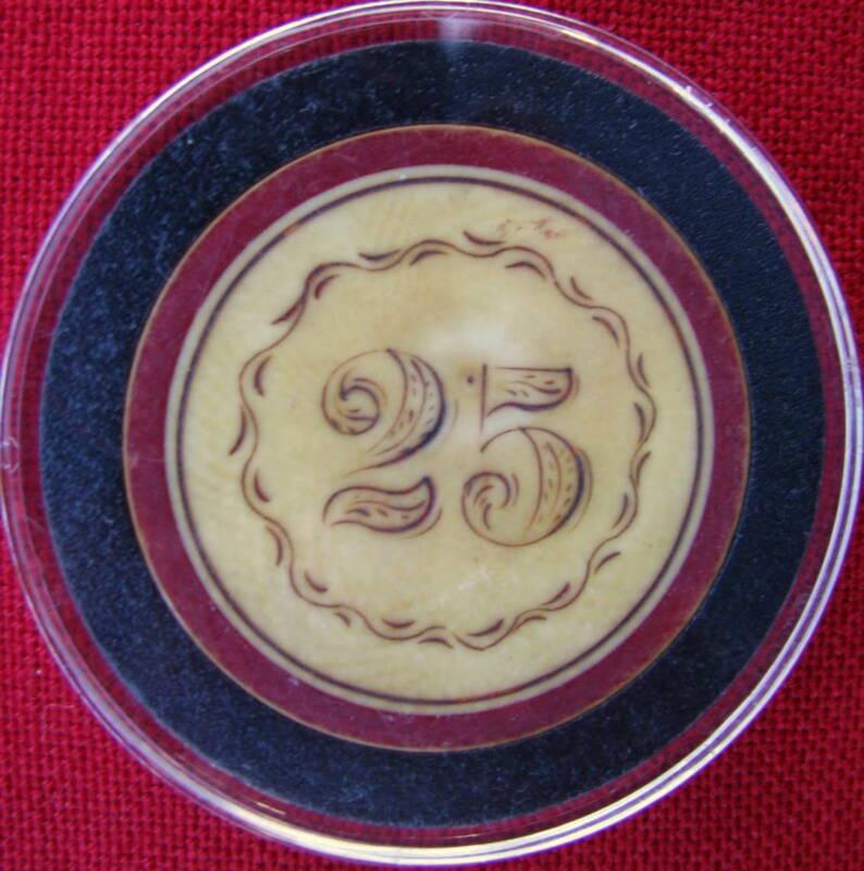 ANTIQUE HIGH DENOMINATION FINE RED RIM FANCY BORDER  $25 SCRIMSHAWED POKER CHIP