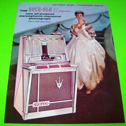 Rock-Ola Empress 1496 1497 Jukebox FLYER 1962 NOS Original Phonograph Music