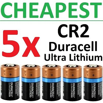 5 NEW Duracell Ultra Lithium CR2 Batteries 3V (DLCR2, CR17355, ELCR2) Exp 2024+