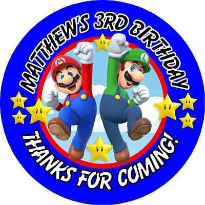 SUPER MARIO BROS. BROTHERS BIRTHDAY ROUND PARTY STICKERS FAVORS ~ VARIOUS SIZES - Mario Birthday Party