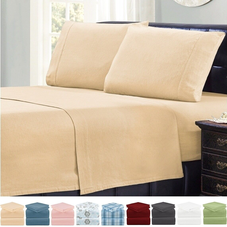 Mellanni 4-Piece Bed Sheet Set Cotton Flannel, Deep Pocket B