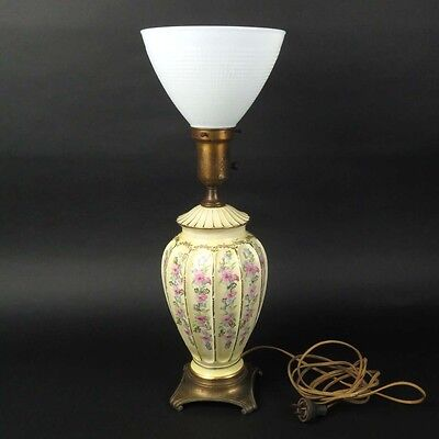 Milk glass lampebay 1 vtg floral table lamp yellow ceramic painted milk glass shade artistic lamp co mozeypictures Image collections